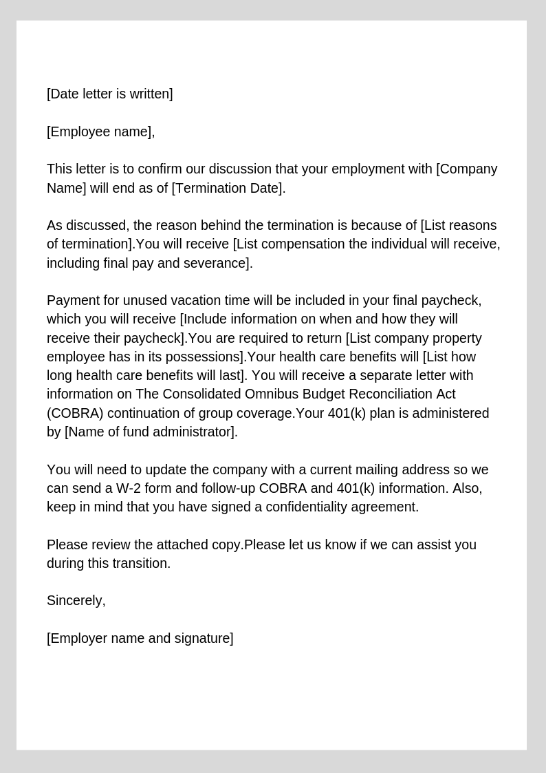 Letter Of Termination Template from zenefits.com